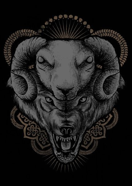 Vicious sheep and wolf heads with brown mandala background tattoo design