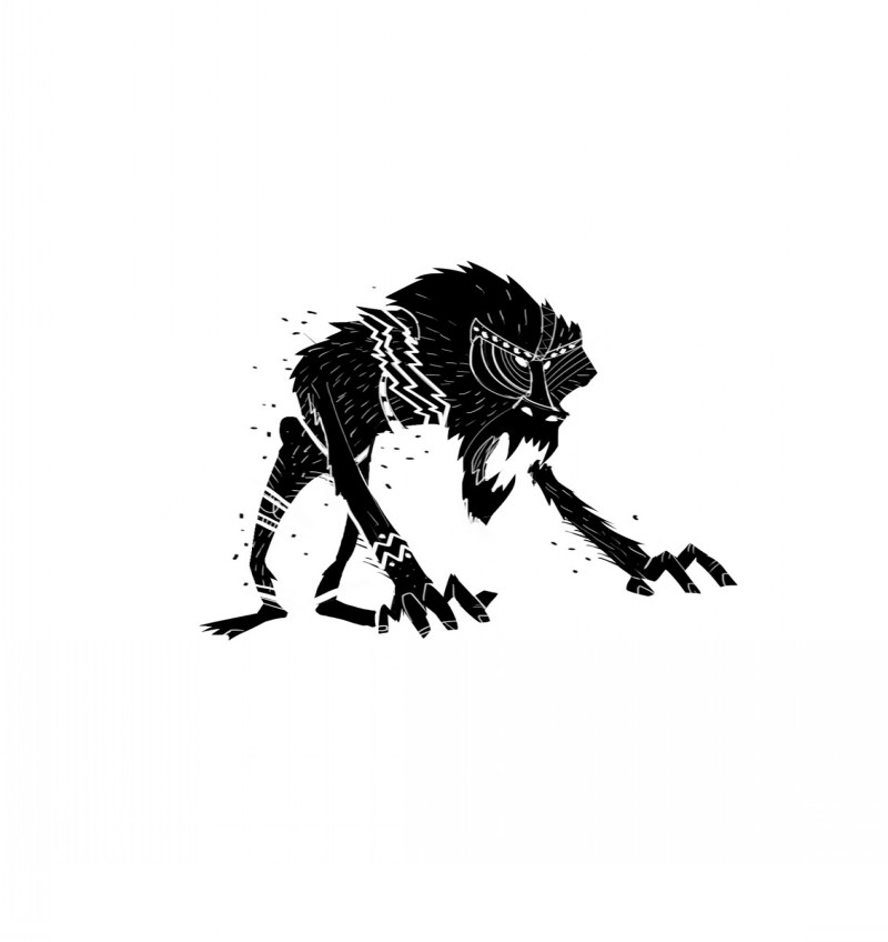 Vicious small black-ink screaming baboon tattoo design