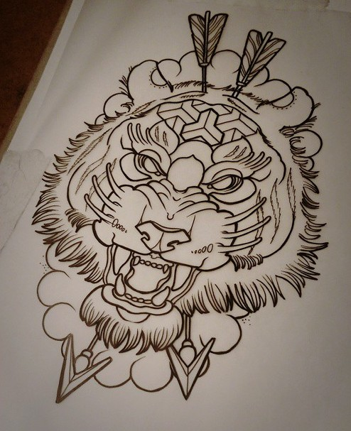 Vicious tiger head shooted by arrows tattoo design by Jethro Wood