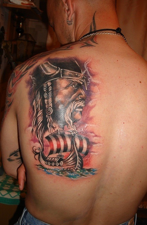Viking warrior and the ship tattoo on back
