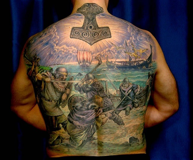 viking warriors battle on the see tattoo on back. Black Bedroom Furniture Sets. Home Design Ideas