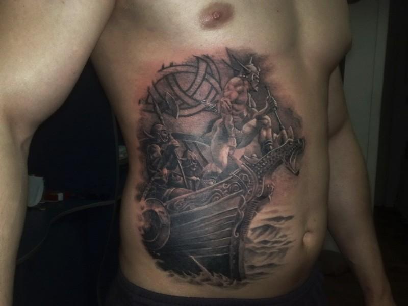 Viking warriors on ship tattoo on belly