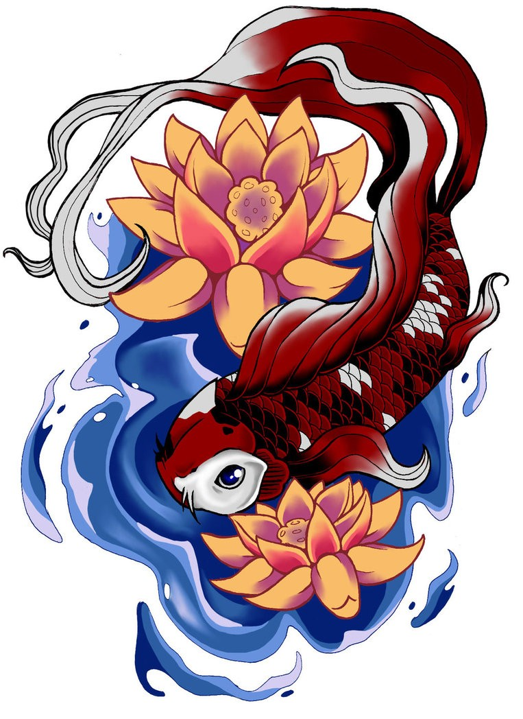 Vinous koi fish with orange lotuses tattoo design by Dark Light Artist