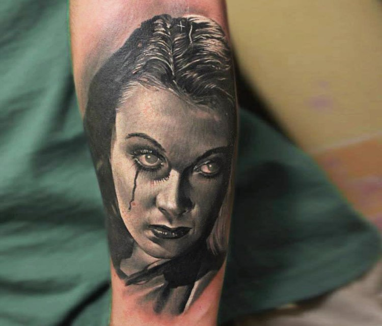 Vintage horror movie style detailed tattoo of woman portrait