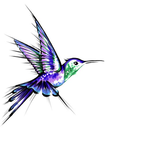 Violet hummingbird with green neck tattoo design
