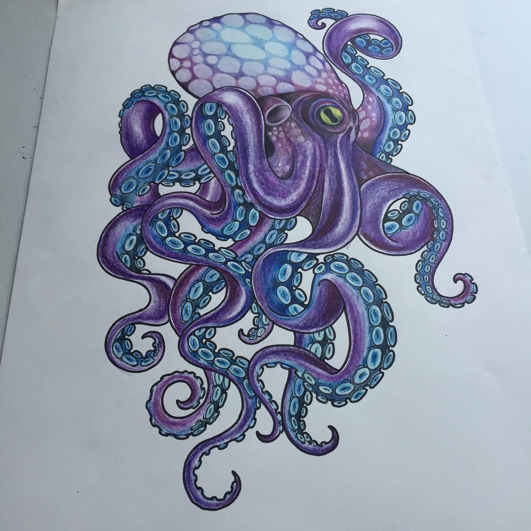 violet octopus with blue suckers tattoo design. Black Bedroom Furniture Sets. Home Design Ideas