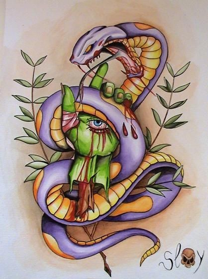 Violet snake curled around green zombie hand tattoo design
