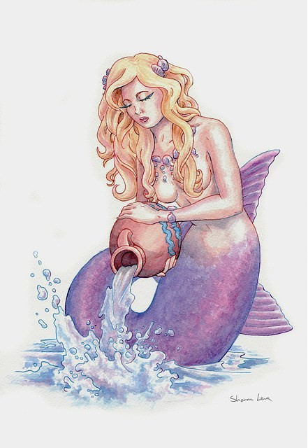 Violet tail mermaid with a jar of water tattoo design