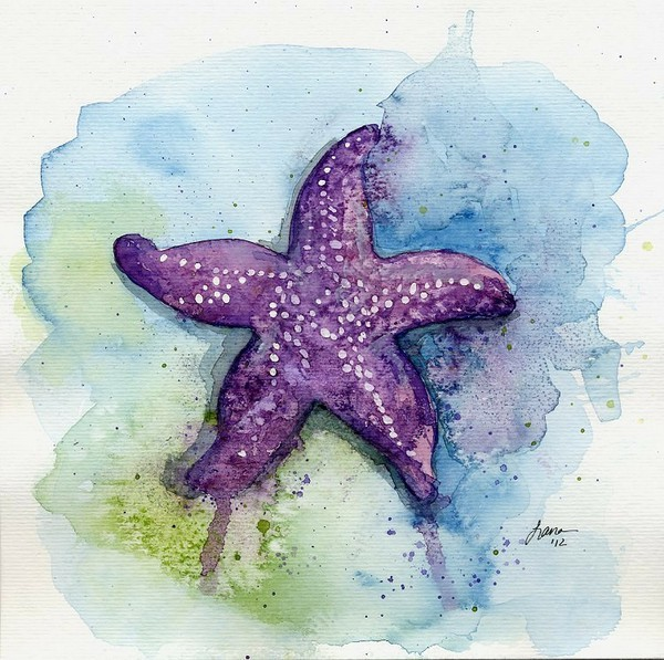 Violet watercolor starfish on green-and-blue background ...