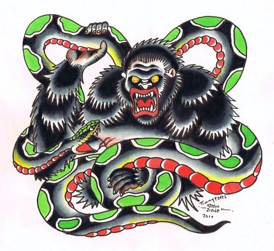 Visious colorful old school gorilla and snake battle tattoo design