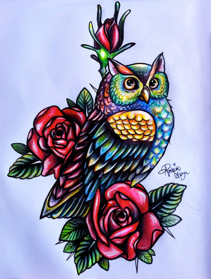 Vivid-color owl and roses tattoo design by Moterpants