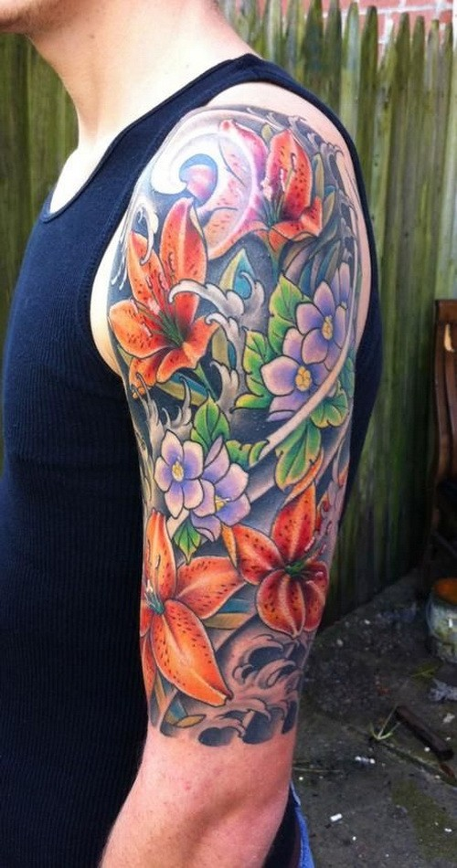 Vivid-colored japanese flower tattoo for guys on upper arm