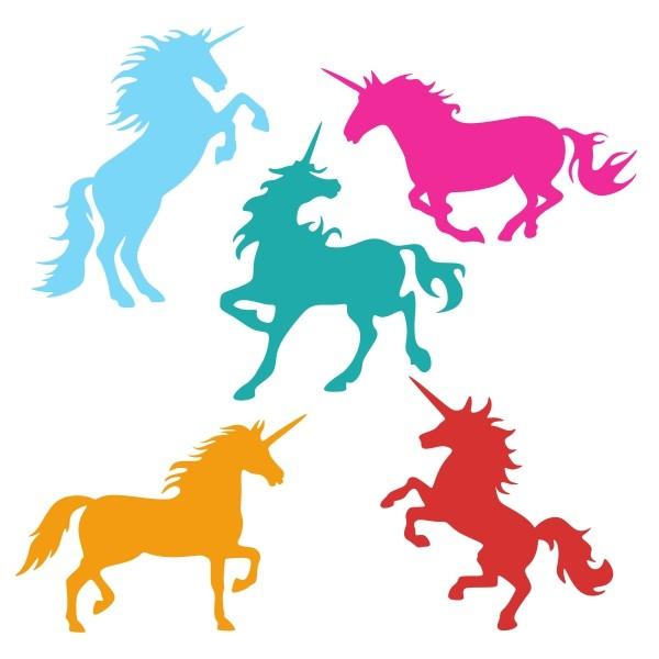 Vivid color jumping unicorn silhouettes tattoo design