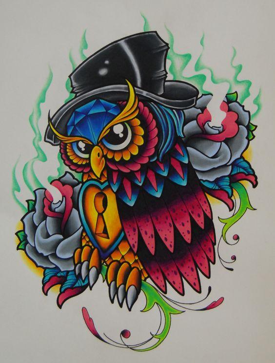 Vivid color new school owl in green smoke tattoo design