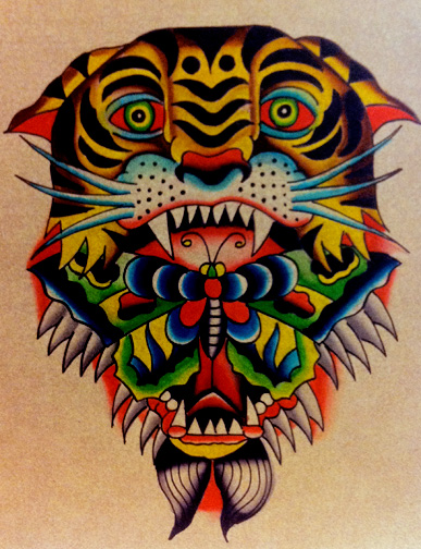 Vivid color old school tiger head with butterfly in mouth tattoo design