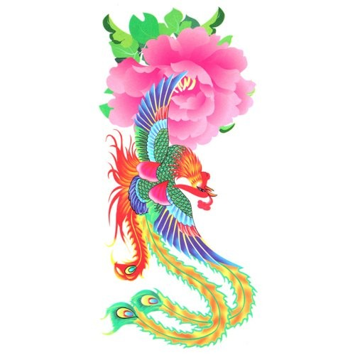 Vivid color phoenix and pink peony in japanes style tattoo design