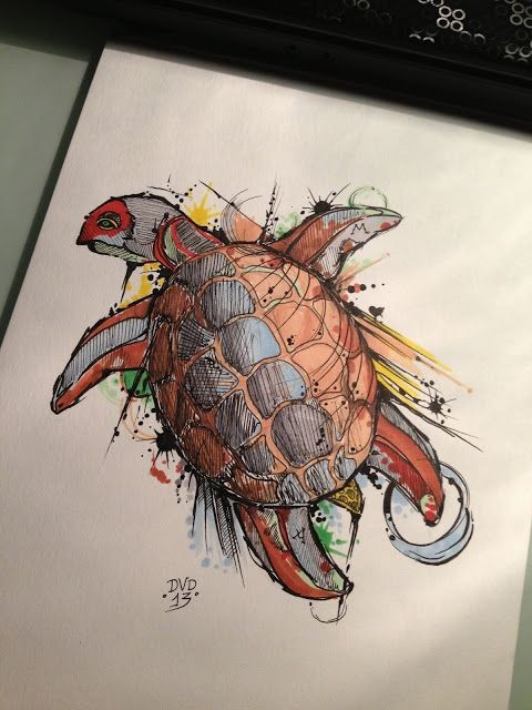 Vivid color watercolor lying turtle tattoo design