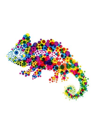 Vivid colorful dotted reptile tattoo design