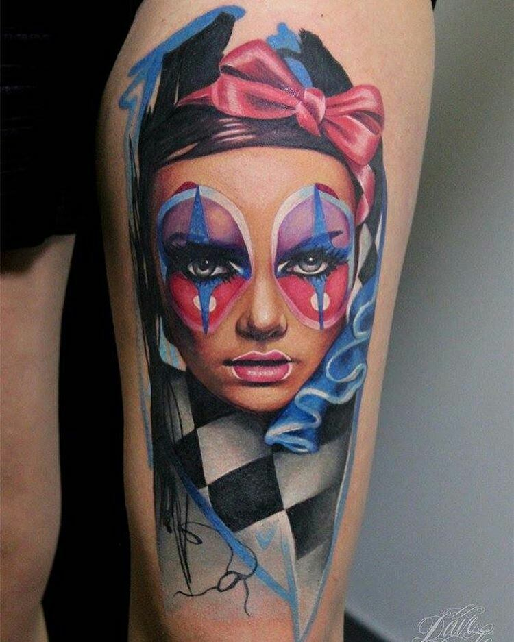 Vivid colors clowness portrait tattoo by Dave Paulo