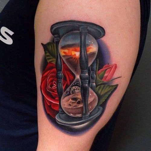 Vivid colors hourglass with roses tattoo