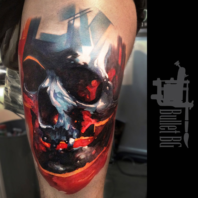 Vivid colors skull tattoo