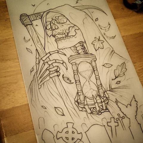 Waiting colorless death with a hourglass on a hand tattoo design