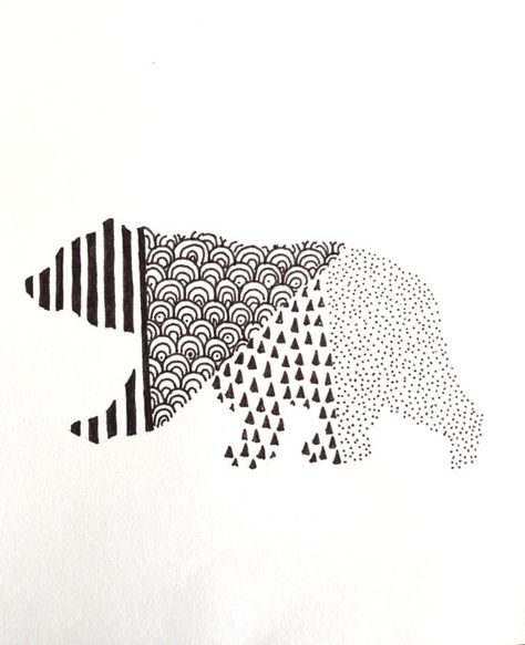 Walking bear with different patterns tattoo design