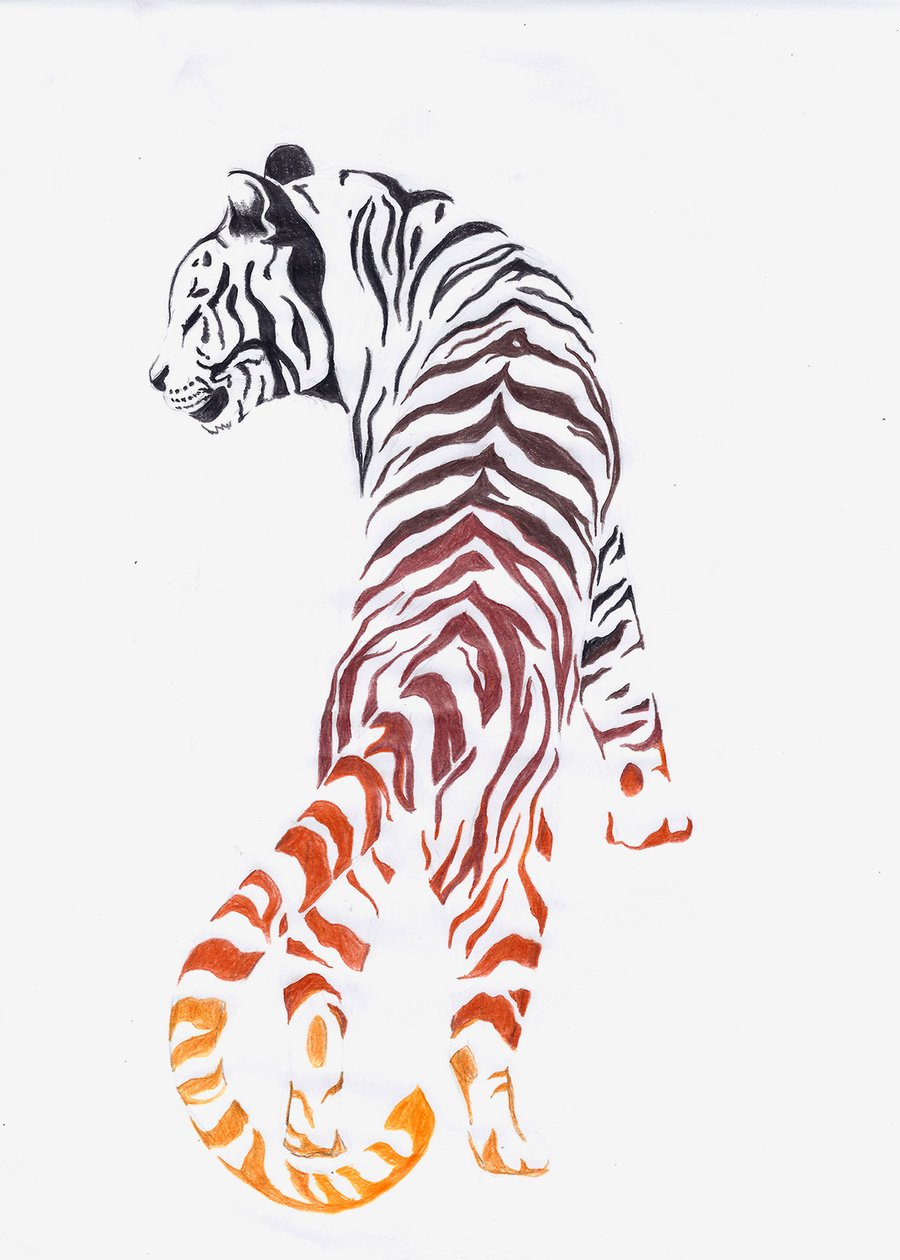 Walking tiger with orange-shining butts tattoo design by Norey Dragon