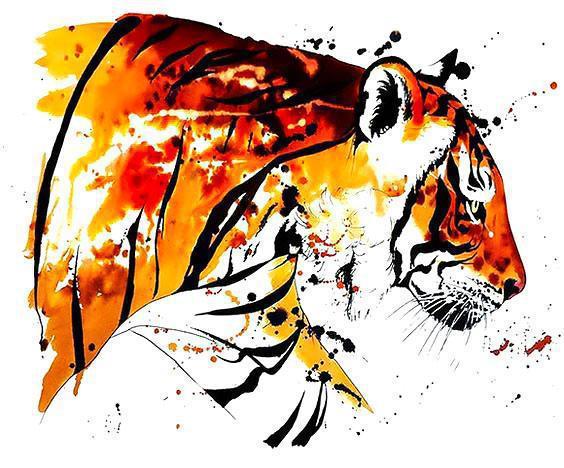 Walking watercolor bengal tiger tattoo design