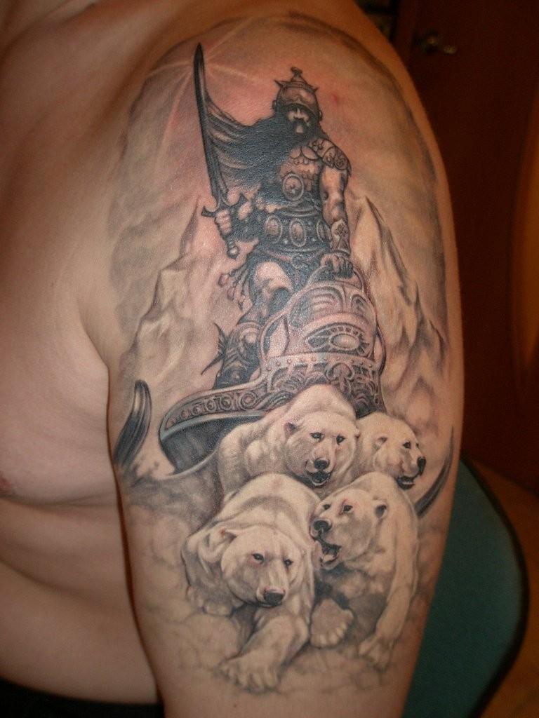 Warrior on polar bears tattoo on shoulder