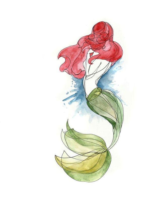 Watercolor ariel mermaid from back tattoo design