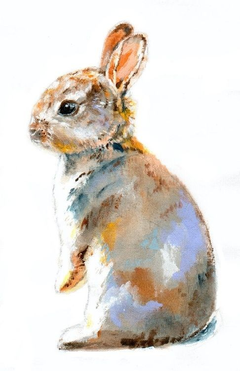 Watercolor baby hare tattoo design