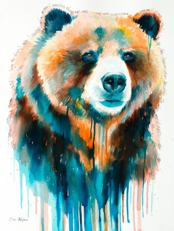 Watercolor bear portrait in smudges tattoo design