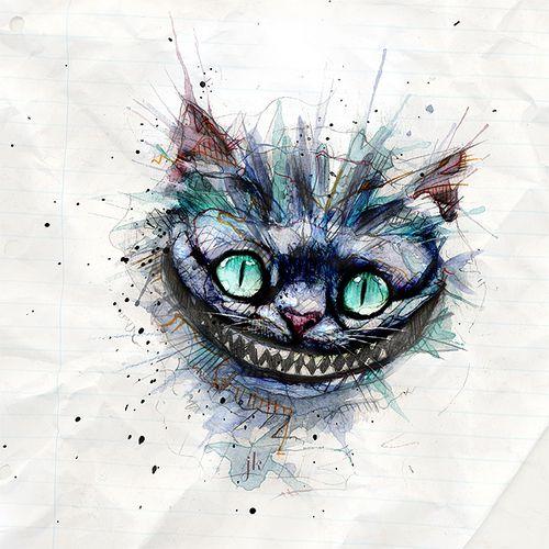 Watercolor Cheshire Cat Grin Tattoo Design Tattooimagesbiz