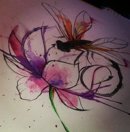 Watercolor dragonfly over big open-bud flower tattoo design