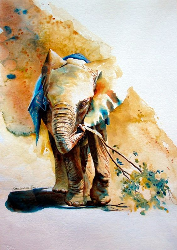 Watercolor elephant keeping a tree branch tattoo design