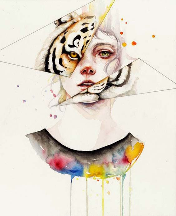 Watercolor girl with tiger reflection on mirror pieces tattoo design
