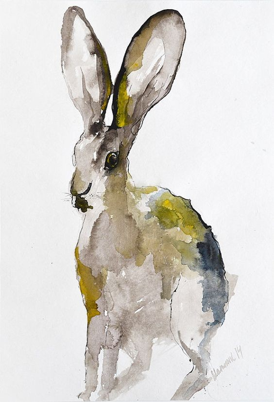 Watercolor hare with green and blue spots tattoo design