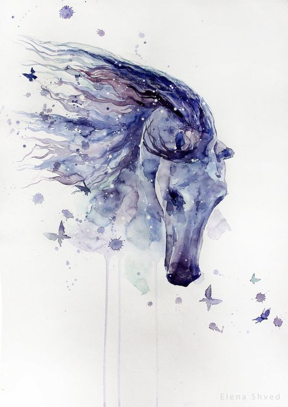 984e6b7d5c996 Watercolor horse head and tiny flying butterflies tattoo design -  Tattooimages.biz