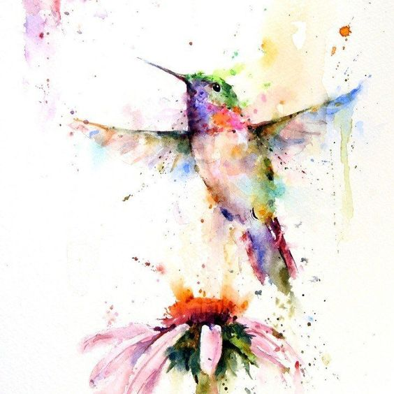 Watercolor hummingbird flying up over the flower tattoo design