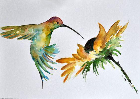Watercolor hummingbird over sunflower tattoo design