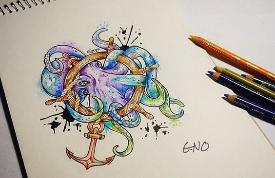 Watercolor octopus keeping a wooden wheel and anchor tattoo design