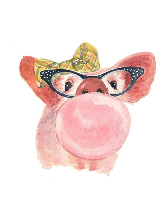 Watercolor pig with bow and glasses blowing a bubble tattoo design