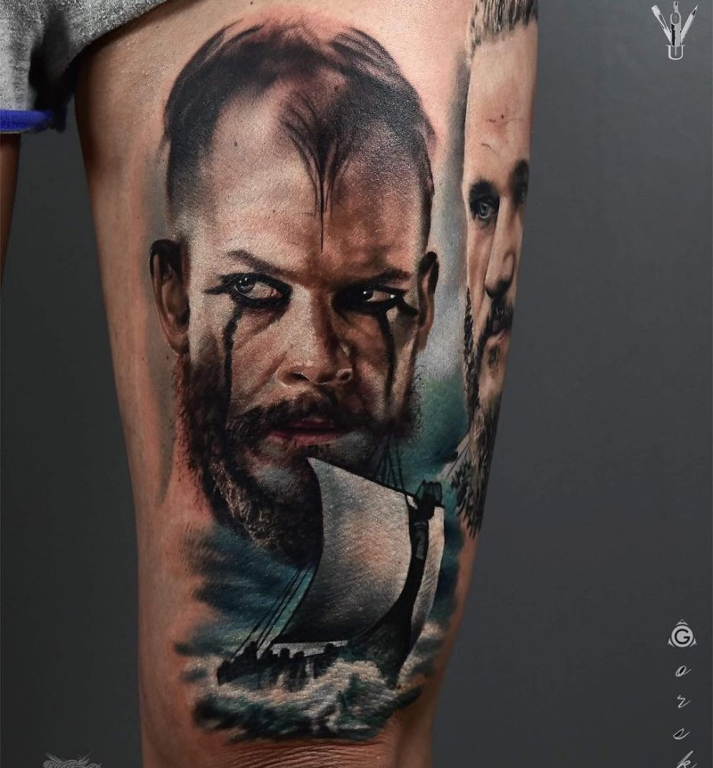 Watercolor portrait of Floki viking tattoo