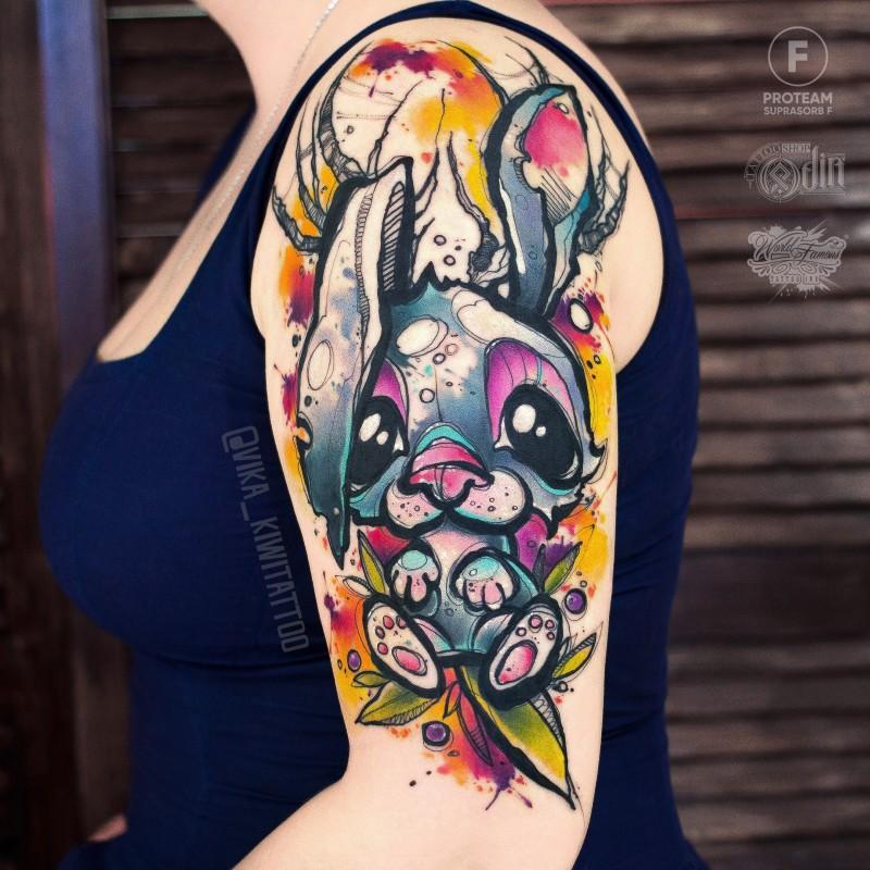 Watercolor rabit tattoo on shoulder