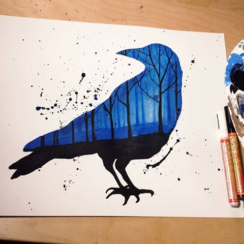 watercolor raven with night forest view tattoo design