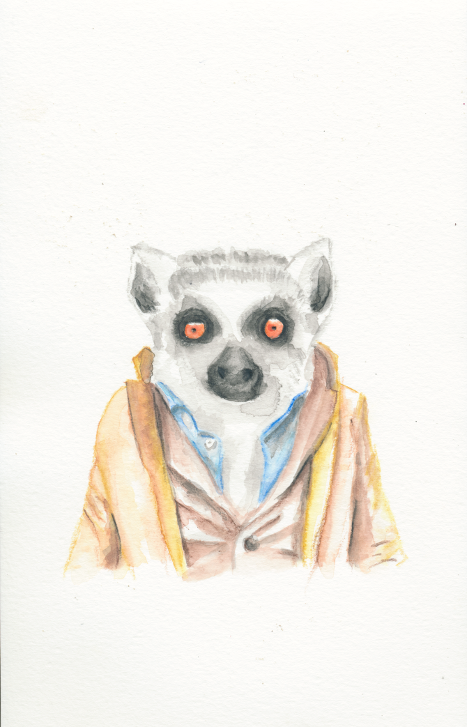 Watercolor red-eyed lemur in suit tattoo design