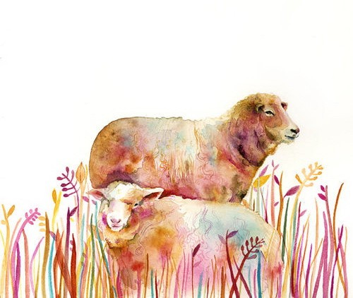 Watercolor sheep couple among high colorful grass tattoo design