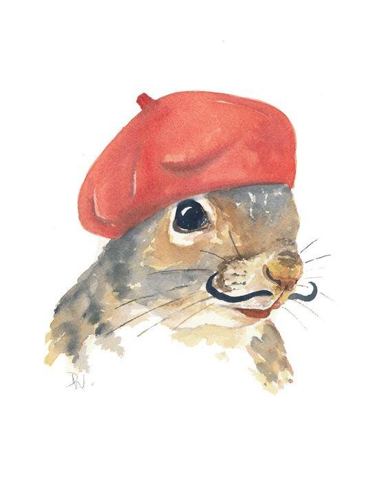Watercolor squirrel artist in red beret tattoo design