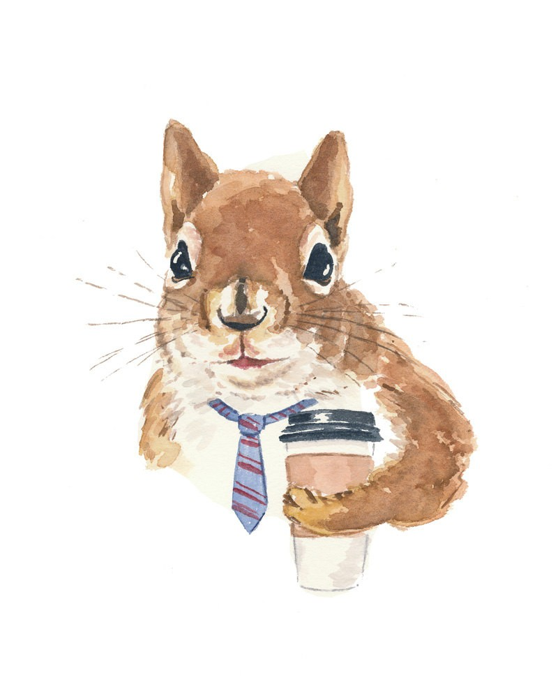 Watercolor squirrel businessman in striped tie with coffee tattoo design